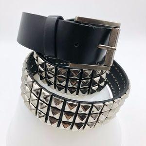 Womens Belt size Large Black Silver Studded